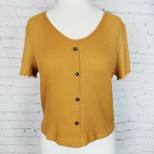 Caution To The Wind Button Waffle Knit Cro…